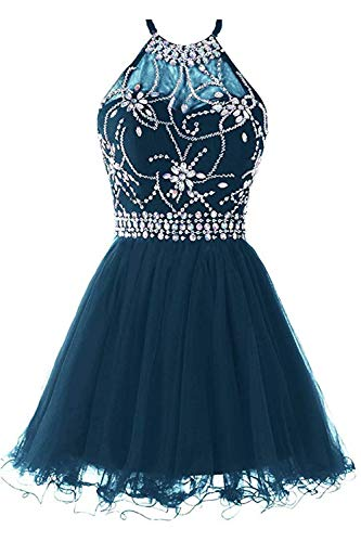 Dress Teal Homecoming (Huifany Womens Short Hollow Military Ball Gown Homecoming Prom Dresses Teal,US8)