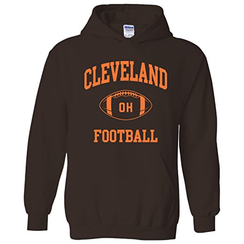 Cleveland Browns Hoody Sweatshirt - UGP Campus Apparel Cleveland Classic Football Arch American Football Team Sports Hoodie - X-Large - Brown