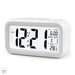 YOUNGFLY Digital Date Display LCD Multifunction Touch Screen Control Alarm Clock Recording White