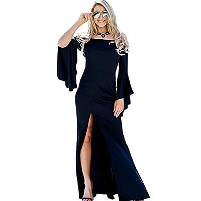 LaCouleur Women's High Slit Dress Off The Shoulder Bell Sleeve Mermaid Long Maxi Evening Dress Gown