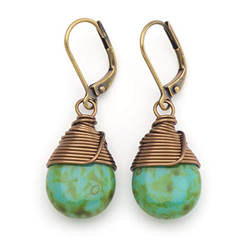 (Green Czech glass wire-wrapped drop antique bronze tone lever-back earrings)