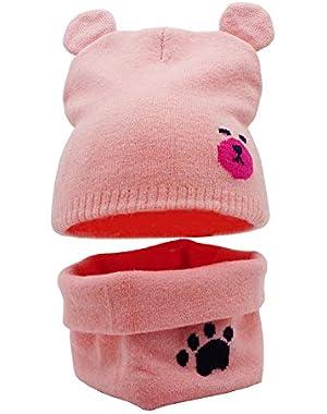 Baby Beanies Scarf Set Soft Stretchy Crochet Beanie Cap Winter Cartoon Bear Animal Ear Hats