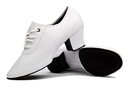 Gogodance Women's Latin Salsa Wedding Dance Shoes Lady's Ballroom Dancing Sneaker White Leather (8US/40) by Gogodance