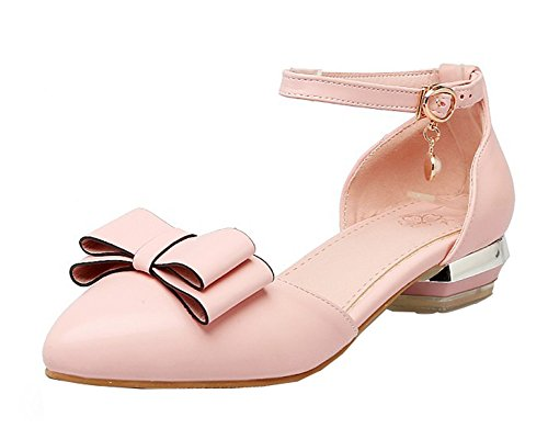 Aisun Moda Donna Con Perline Abito A Punta Chiusa Fibbia Dorsale Sandali Con Tacco Basso E Cinturini Alla Caviglia Rosa 1
