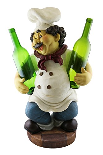 Decorative 23-Inch Polyresin Chef Double Wine Bottle Holder Countertop Decoration