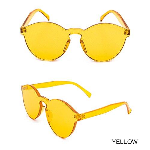 Transparente Transparentes Mujeres De De Sol Color Sin De De Gafas Chica Las Bastidor Gafas Gafas Vintage De Sol TIANLIANG04 YELLOW FUgwaa