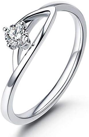 恋人天然ダイヤモンドの女性の14Kホワイトゴールドの婚約指輪の約束はセット、リングサイズを提案:L