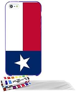 """Carcasa Flexible Ultra-Slim APPLE IPHONE 5 de exclusivo motivo [Bandera Texas] [Violeta] de MUZZANO  + 3 Pelliculas de Pantalla """"UltraClear"""" + ESTILETE y PAÑO MUZZANO REGALADOS - La Protección Antigolpes ULTIMA, ELEGANTE Y DURADERA para su APPLE IPHONE 5"""