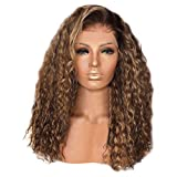 Oufenli Long Curly Small Wavy Wig 26'' Long Hair Heat Resistant Fiber Synthetic Glueless Lace Front Wigs As Real Hair Wig For Black White Women Daily Costume Cosplay Party Wig(Brown) (Brown)