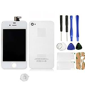 SKILIWAH-Pantalla Táctil LCD para iPhone 4S + tapa trasera + boton home + herramientas Color Blanco