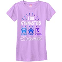 Threadrock Big Girls' I Do Gymnastics Everywhere Fitted T-Shirt
