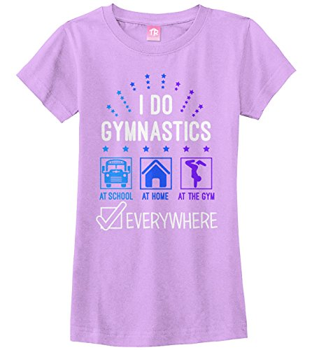 Threadrock Big Girls' I Do Gymnastics Everywhere Fitted T-Shirt S Lavender