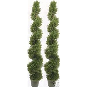 Two 6 Foot 4 Inches Artificial Cypress Spiral Topiary Trees Potted Indoor or Outdoor 20