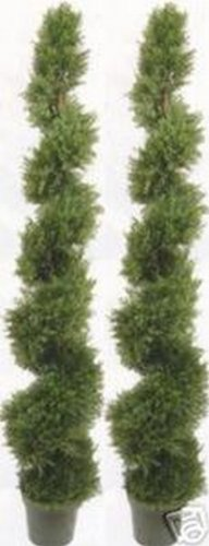 (Two 6 Foot 4 Inches Artificial Cypress Spiral Topiary Trees Potted Indoor or Outdoor)