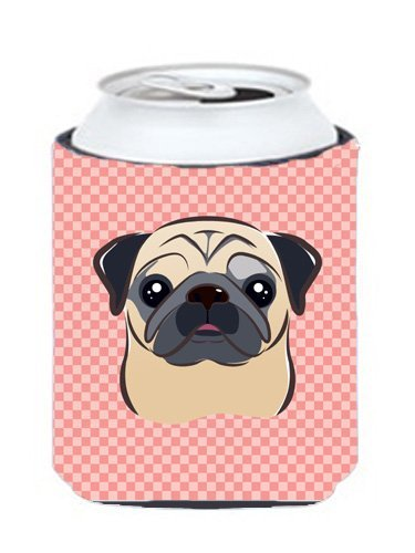 Caroline's Treasures BB1262CC Checkerboard Pink Fawn Pug Can or Bottle Hugger, Multicolor by Caroline's Treasures Multicolor by Caroline's Treasures