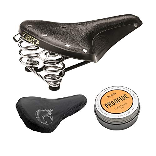 Brooks England B67 Men's Bike Saddle (Black/Black Steel with Chrome Springs) with Rain Cover and Proofide Bundle