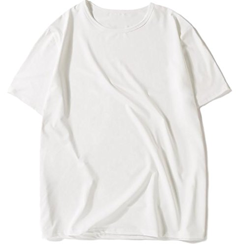 Papijam Mens Round Neck Short Sleeve Plain Loose Soft Tops Tee White Medium by Papijam
