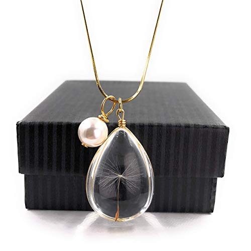 - Stunning High Quality GOLD Dandelion Christmas Wish Necklace with Swarovski Crystal Pearl Charm 18
