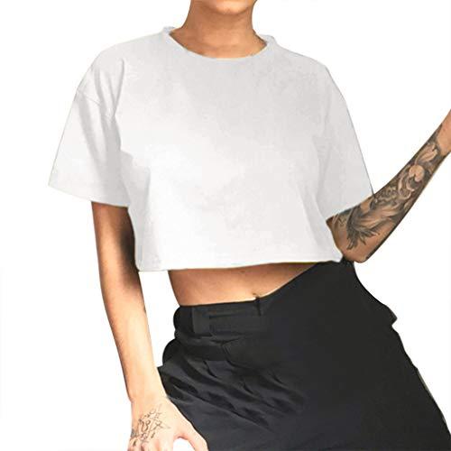 Caixukun Fashion Womens Tops Summer Short Sleeve Brief Crop Casual Loose Ladies T-Shirt Tee 2019 Women's Clothes Sale White