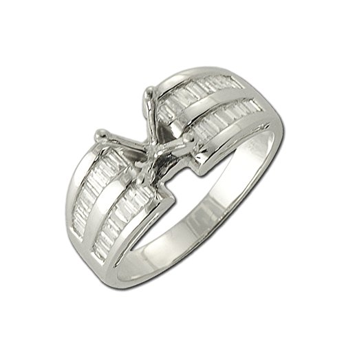 TriJewels Diamond Baguette Shape Semi Mount Ring (SI2-I1, G-H) 0.55 ct tw in 14K White Gold.size 8.0