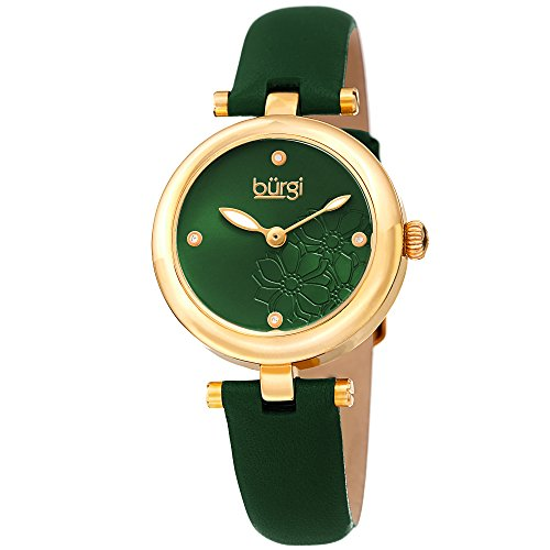 Green Leather Watch Strap (Burgi Women's BUR197GN Diamond Accented Flower Dial Yellow Gold & Green Leather Strap Watch)