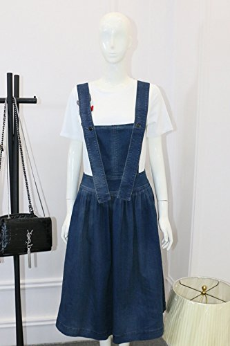 Generic Tang Yan with new models fashion-shirt dark blue denim strap dress loose big swing dress suit and long sections for women girl