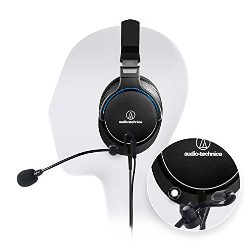 Audio-Technica ATH-MSR7BK Black SonicPro Over-Ear High-Resolution Audio Headphone -INCLUDES- Antlion Audio ModMic Attachable Boom Microphone - Noise Cancelling w/ Mute Switch AND Blucoil Y Splitter
