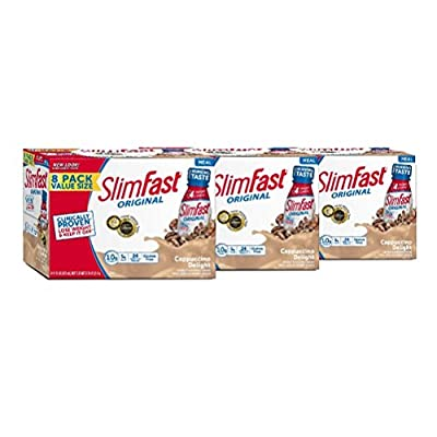 SlimFast Original Cappuccino Delight Shake – Ready to Drink Weight Loss Meal Replacement – 10g of protein – 11 fl. oz. Bottle – 8 Count (Pack Of 3)