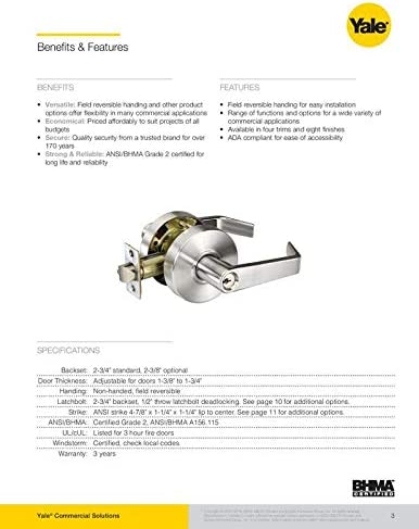 Brand new Yale GRD2 Cylindrical Lever Lock AU 4601LN 626 Passage