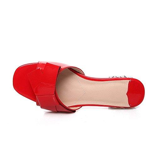 Abierta Mini Mujeres Sin AllhqFashion Rojo cordones Puntera Tacón Cuero Sandalia IxwIABq