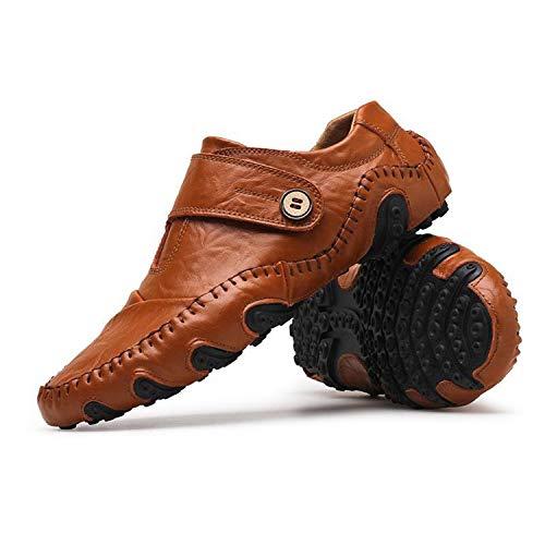 Cuero Hombres Transpirable Resbalón Ocasional Genuino De Sin Black Mocasines Goma Zapatos Para En Sneerrt Los Cordones qt7UYwH