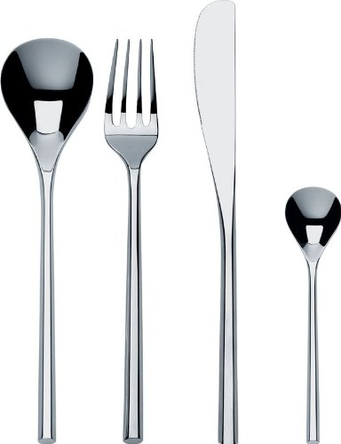 Alessi''MU'' Flatware Set Composed Of Six Table Spoons, Table Forks, Table Knives, Coffee Spoons in 18/10 Stainless Steel Mirror Polished, Silver