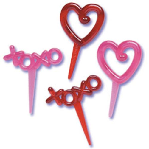 Dress My Cupcake DMC41V-89SET Hearts and XOXO Pick Decorative Cake Topper, Valentines, Red/Pink, Case of 144