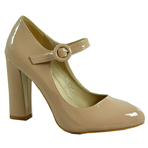 Cucu Fashion Brand New Womens High Block Heel Pumps Ladies Girls Patent Ankle Strap Buckle Dolly Court Shoes Casual Party Sexy Size UK 3-8 Beige 15XcZ5