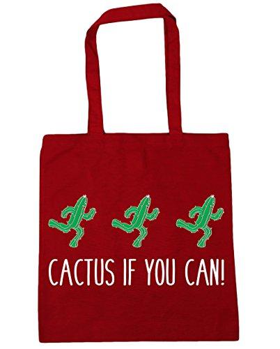 Cactus Hippowarehouse Se Non Puoi! Shopping Bag Borsa Da Spiaggia Fitness 42cm X38cm, 10 Litri - Classico Rosso, Taglia Unica