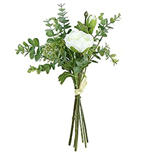 Charmly Artificial Lu Lotus Ranunculus Posy Silver Dollar Eucalyptus Leaf Ins Style Bouquet Wedding Home Decoration Approx 6″ in Diameter Ins Style-White