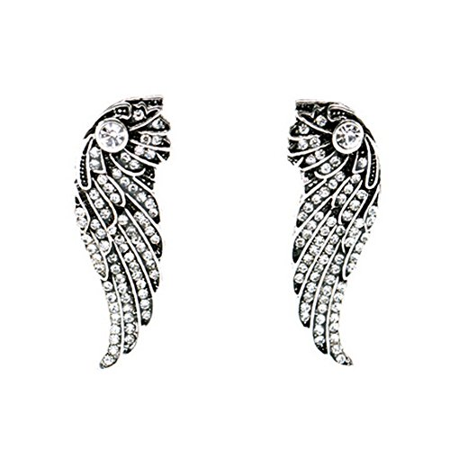 Elakaka Women's Retro Alloy Diamond Wings Earrings