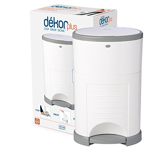 Dekor Plus Hands-Free Diaper Pail | White | Easiest to Use | Just Step - Drop - Done | Doesn't Absorb Odors | 20 Second Bag Change | Most Economical Refill System |Great for Cloth Diapers