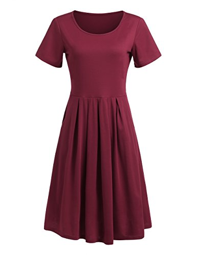 MakeMeChic Women's Short Sleeve Casual Summer Flared Tunic Swing Midi Dress Burgundy 2 (Flared Womens Dress)