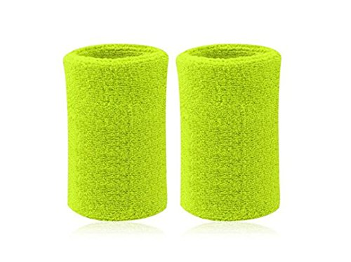 Kagogo 6 Inch Long Thick Cotton Sports Wristband / Sweatband For Basketball Tennis And Other Sports, Price/Pair (Light Green)