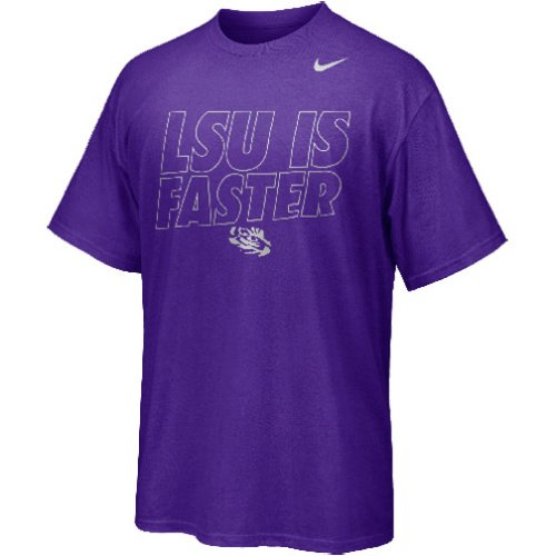 Nike T-shirt New Womens Cotton - Nike LSU Tigers LSU is Faster Rivalry Chrome Foil Outline Men's T-Shirt (XL, New Orchid Purple)