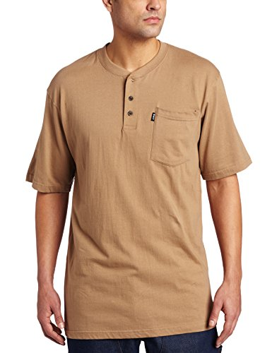 Key Apparel Men's Short Sleeve Heavyweight 3-Button Pocket Henley, Khaki, Large-Regular ()