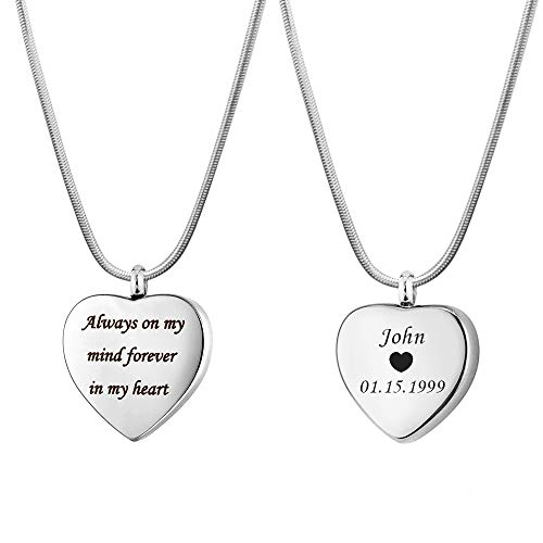 Anavia Personalized Remembrance Quotes Love Heart Cremation Urn Necklace for Ashes Holder Silver Plated 316L Stainless Steel Memorial Keepsake Pendant Jewelry for Loved Women Men, Back Engraving