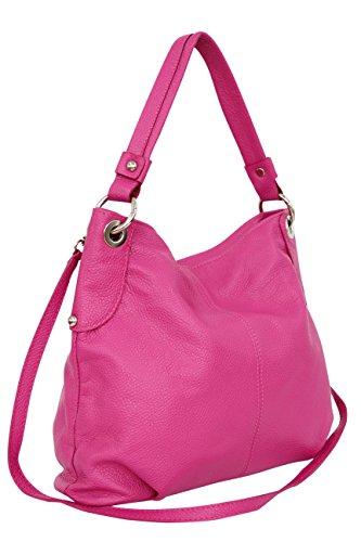 femme main AMBRA tout sac à Moda cuir sac à Fuchsia bandoulière Sac véritable bandoulière GL012 à fourre Sac wOOIxcqPrt