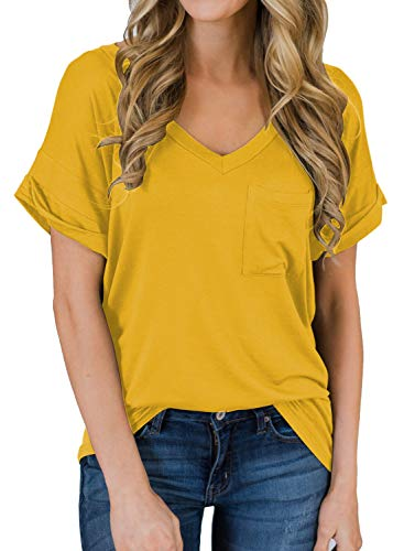 (MIHOLL Women's Short Sleeve V-Neck Shirts Loose Casual Tee T-Shirt (Yellow, X-Large) )