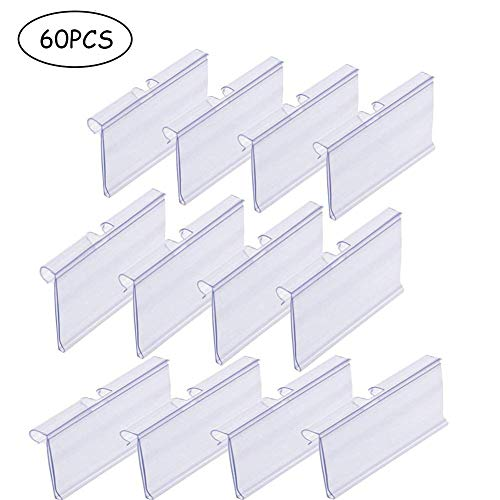 Qincling Pack of 60 Clear Plastic Label Holder, Double Hook Wire Shelf Retail Price Tag Label Holder Merchandise Sign Display Holder (4 * 8cm/1.57 * 3.15in)