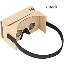 Google Cardboard vr by IHUAQI 2 Pack with Headstrap Fully Assembled Compatible with Android and iPhone Up to 6inch including Comfortable Nose Foam and Forehead Pad