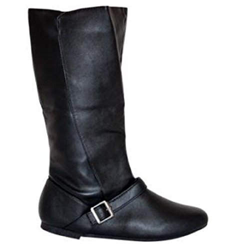 Buckle Available Leather in Boots to UK all Flat Calf UK Look Black 8 3 Mid Sizes Xq0Xd