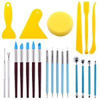 Ceramics Polymer Clay kit Essential Wooden Sculpting Clay Tools Combination for Pottery Modeling and Smoothing Auxsoul 8 Pcs Pottery /& Polymer Clay Tools Kit Steel Tips with Wooden Handles