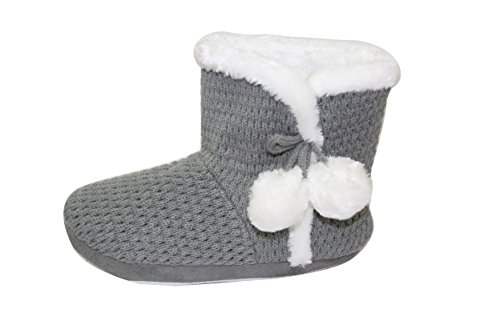 Bull 6109 Happy Sll Womens Booties SLL Weather Non Slip gray Sherpa Cold Slippers Indoor Knitted dqTwZS